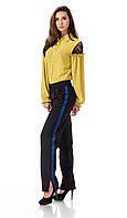 Женские брюки с разрезами оптом. Модель БР27_черный с синим., фото 1
