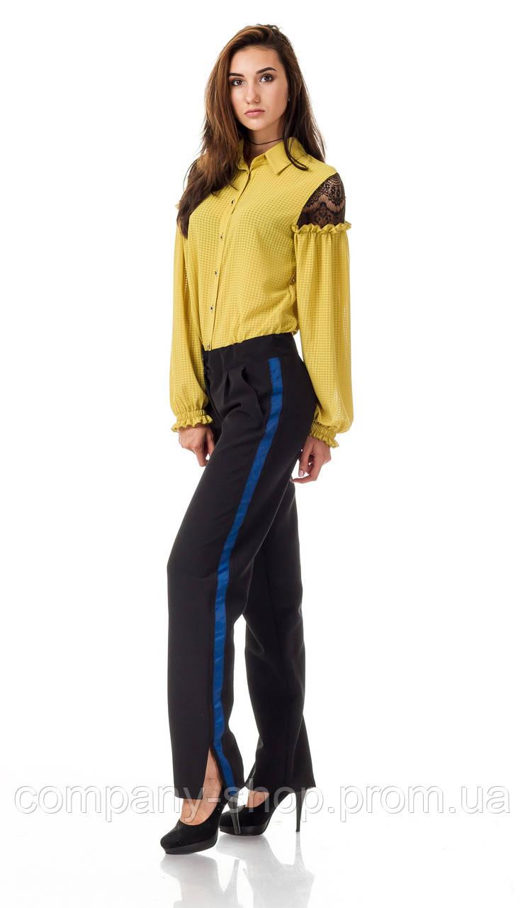 Женские брюки с разрезами оптом. Модель БР27_черный с синим.