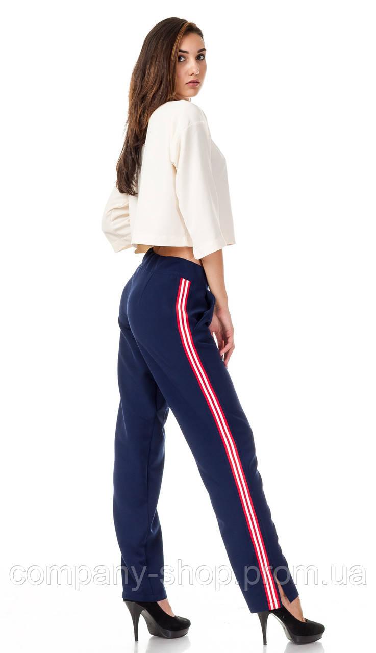 Женские брюки с разрезами оптом. Модель БР27_синий с красно-белым.