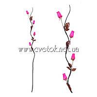 Декоративные ветки салекса c розой в бутоне из шпона 0568-2