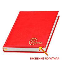Ежедневник 'Принт' от Lediberg красный производства Италии, датированный на 2020 год, под тиснение логотипа, фото 1