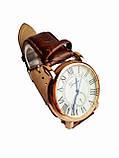 Часы кварцевые мужские Geneva римские цифры коричневый, фото 2