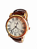 Часы кварцевые мужские Geneva римские цифры коричневый, фото 3