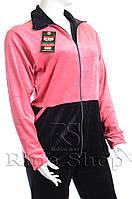 Велюровый женский спортивный костюм 1/2 верх K109 4XL, Розовый