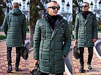 Куртка мужская зимняя синтепон 300 плащевка с капюшоном зеленая