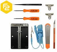 Набор инструментов JM-1102: держатель платы, отвертки, пинцет, нож-скальпель, роликовый инструмент