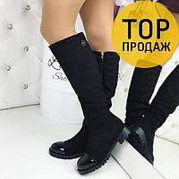Женские зимние сапоги Plein, черного цвета / высокие сапоги женские замшевые, на низком каблуке, модные