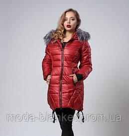 Зимняя женская молодежная куртка. Коллекция осень-зима 2017/2018. Цвет марсала.