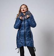 Зимняя женская молодежная куртка. Коллекция осень-зима 2017/2018. Цвет светло синий.
