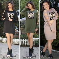 Модное женское платье-туника с пайетками норма / Украина / двухнитка