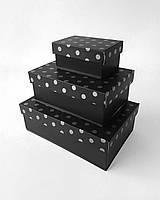 Прямоугольный комплект интерьерных коробок ручной работы чёрного цвета с крышкой в серебряный горох