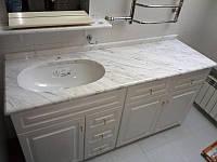 Столешница для ванной комнаты из мрамора Карара (Carrara)
