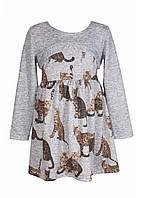 Вязаное платье для девочки Котята