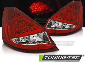 Ліхтарі стопи тюнінг оптика Ford Fiesta MK7 (08-12) червоно-білі