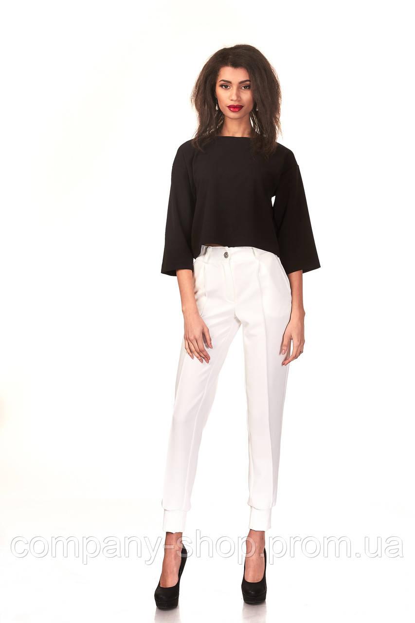 Женские брюки с манжетами оптом. Модель БР23_белый креп.