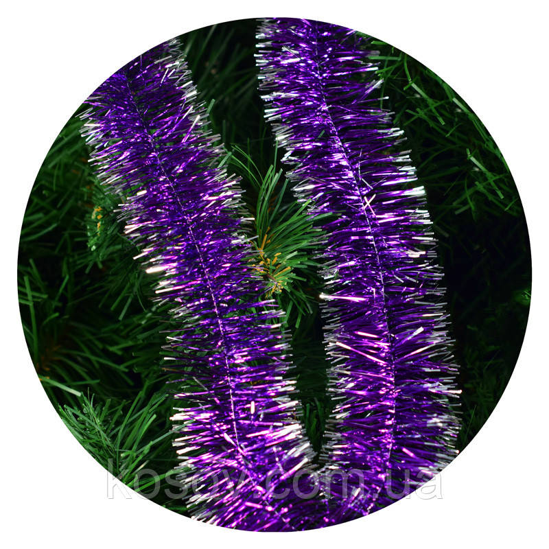 Дождик (мишура) 5 см (3м) (фиолетовый / серебряные концы)