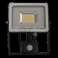 Св/діодний прожектор V-TAC з датчиком руху 20Вт smd чорний/сірий 4500К