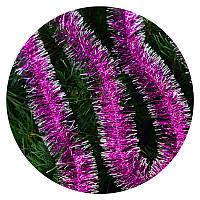 Дождик (мишура) 5 см (3м) (розовый/ серебряные концы), фото 1