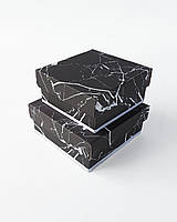 Набор маленьких квадратных интерьерных коробок ручной работы чёрного цвета под мрамор (кафель)