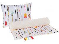 Комплект в детскую коляску BabySoon Маленький индеец одеяло 75 х 78 см подушка 30 х 40 см плюш молочный (346)
