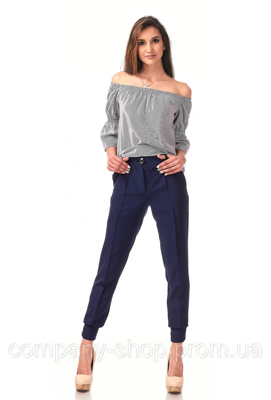 Женские брюки с манжетами оптом. Модель БР23_синий креп., фото 1