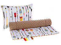 Комплект в детскую коляску BabySoon Маленький индеец одеяло 75 х 78см подушка 30 х 40 см плюш коричневый (347)