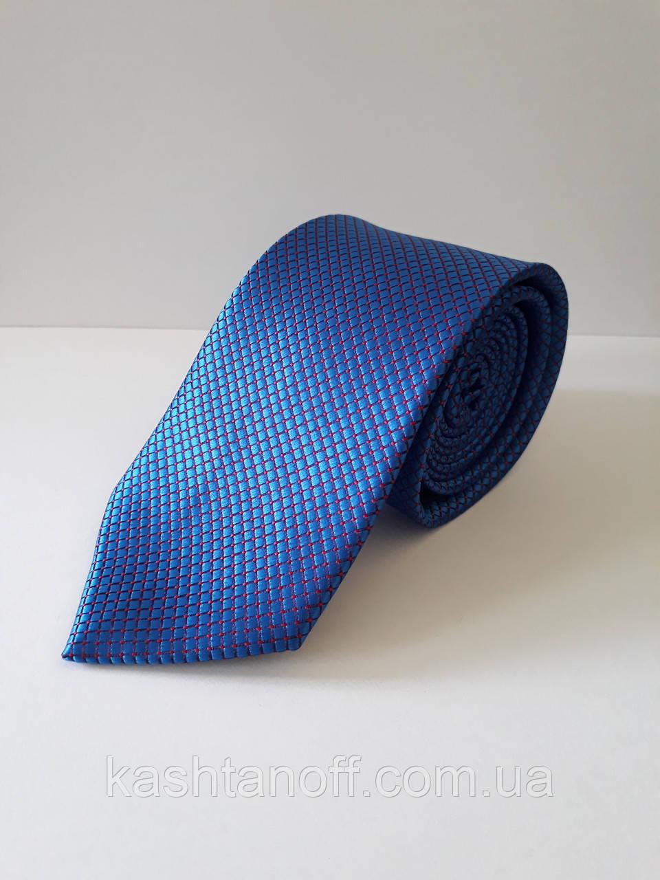 Галстук классический голубой с красной строчкой