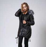 Зимняя женская молодежная куртка. Коллекция осень-зима 2017/2018. Цвет черный.
