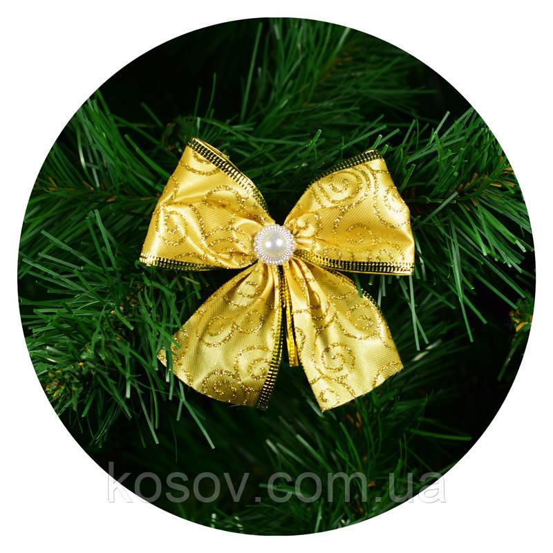 Бантик на елку (золотой с узором)