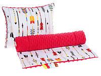 Комплект в детскую коляску BabySoon Маленький индеец одеяло 75 х 78 см подушка 30 х 40 см плюш красный (349)
