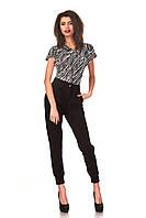 Женские брюки с манжетами оптом. Модель БР23_черный креп., фото 1