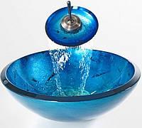 Раковина стеклянная 432*152 с донным клапаном голубая KRAUS