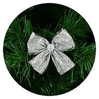 Бантик на елку (серебряный с блестками), фото 1