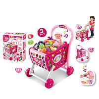 Детская Тележка для супермаркета 008-902,звук, свет,продукты