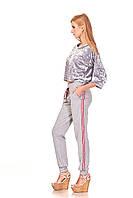 Женские брюки спортшик с кантами и манжетами. Модель БР24_серый с красно-белым кантом., фото 1