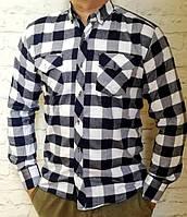 Стильная рубашка Байка в клетку синяя с белым, фото 1
