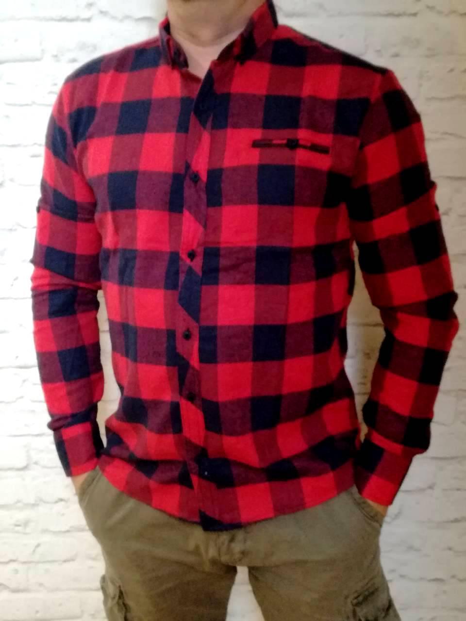 Стильная рубашка Байка в клетку красная