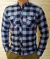 Стильная рубашка Байка в клетку синяя