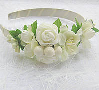 Обруч Ніжні троянди (білі)