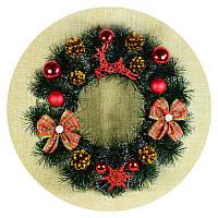Рождественский, новогодний венок (40см, красный)