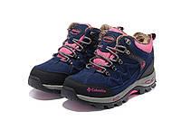 Женские зимние ботинки Columbia с мехом blue-pink, фото 1
