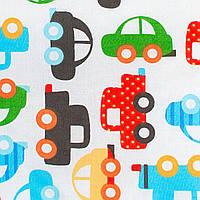 Детская простынь на резинке в кроватку BabySoon хлопок автомобили 120 х 60 см (222)