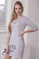 Платье с перфорацией серое