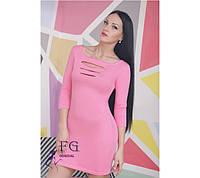 Платье с перфорацией светло-розовое