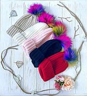 Женская модная шапка с бубоном