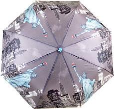 Женский зонт автомат 3004-1, серый, антиветер