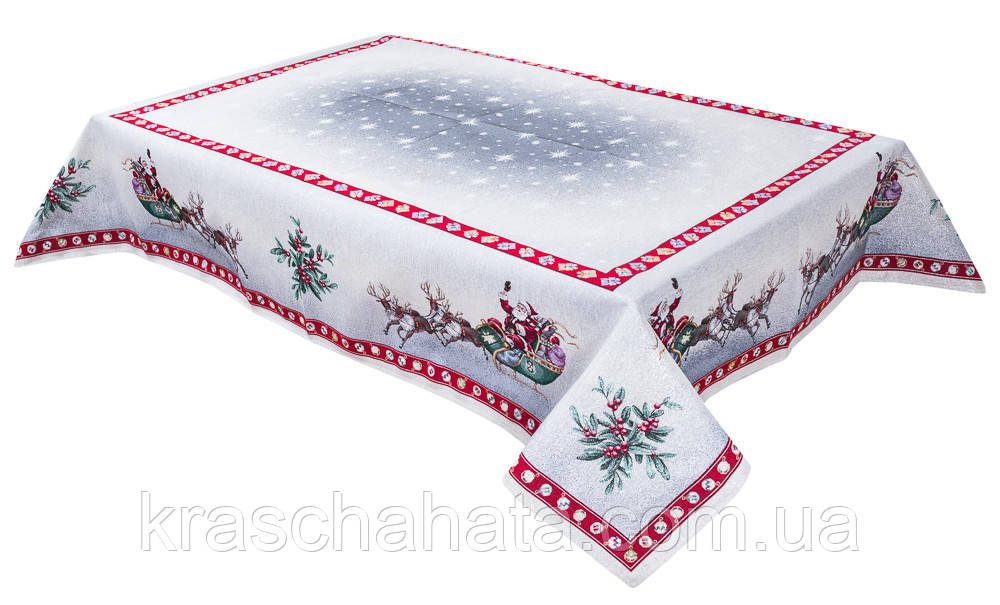 Скатерть новогодняя гобеленовая, 137х137 см, Эксклюзивные подарки, Новогодний текстиль