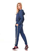 Женские брюки спортшик с кантами и манжетами. Модель БР24_синий Москино., фото 1
