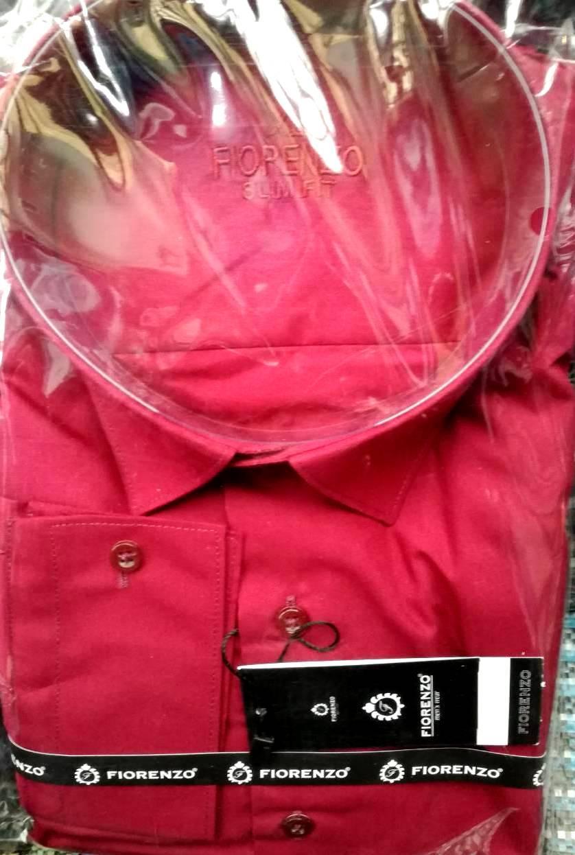 Стильная однотонная нарядная рубашка
