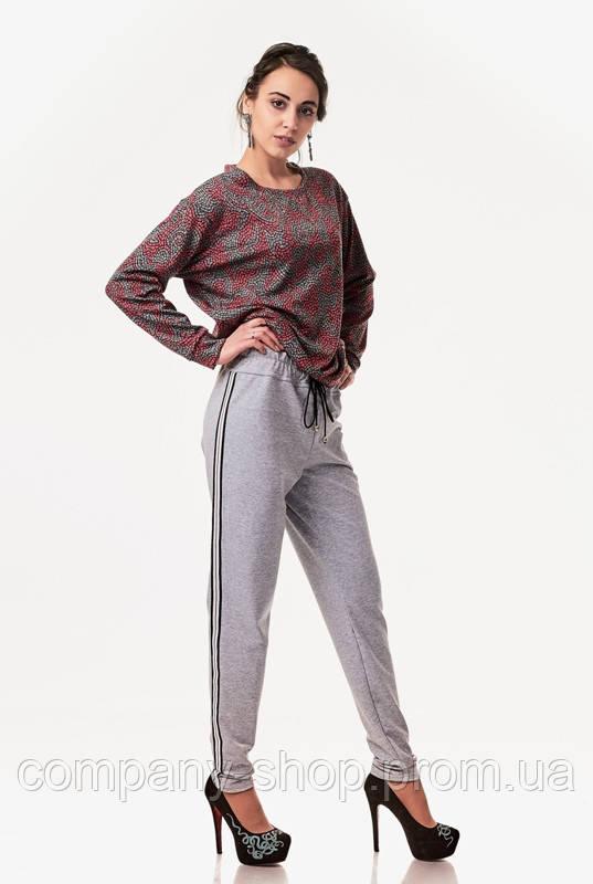 Женские спортивные гламурные брюки с кантами. Модель БР25_серый кант красно-бело-черный.